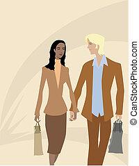 couple, achats, ensemble, dehors