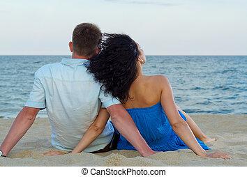 couple, admirer, romantique, océan