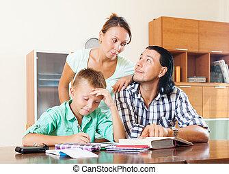 couple, adolescent, devoirs, fils