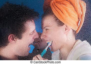 Couple after bath