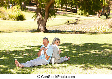 Couple after their streches in the