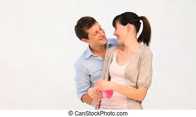 couple, agréable, cadeau