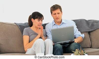 couple, agréable, enjôleur, internet, quelque chose