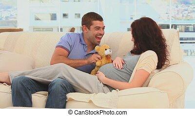 couple, agréable, jouer, teddy