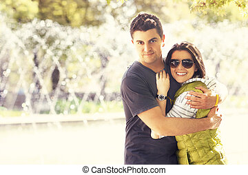 couple, agréable, parc