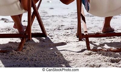 couple, agréable, plage, séance