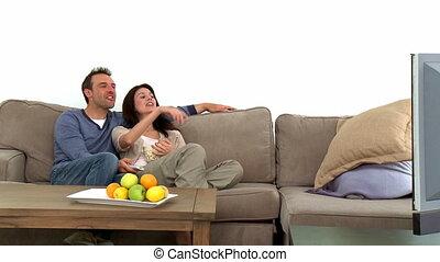 couple, agréable, télévision regarde