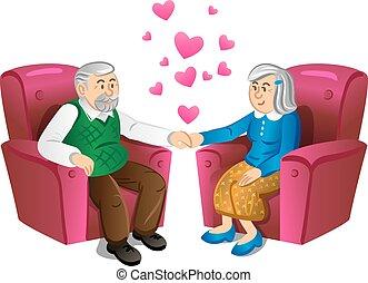 couple, agréable, vieux, tenant mains