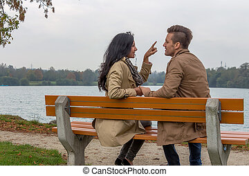 couple, aimer, garez banc