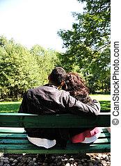 couple, aimer, parc, jeune, banc