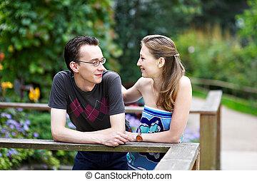couple, aimer, parc, promenade