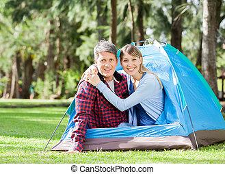 couple, aimer, parc, tente, séance