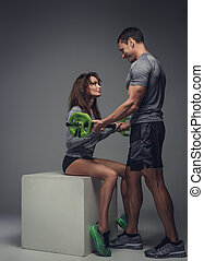 couple, aimer, poser, studio., fitness