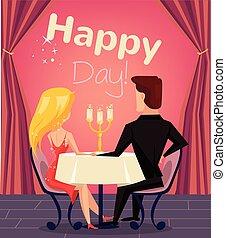 couple, aimer, restaurant
