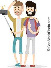 couple, amis, gays, équipe, selfie, vecteur, illustration.