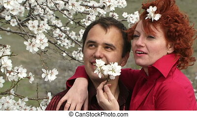 Couple among the flowers
