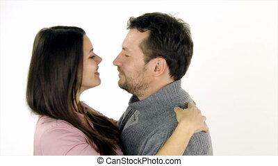 couple, amour, étreindre