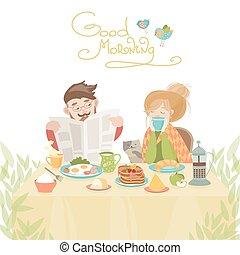 couple, amour, avoir, petit déjeuner