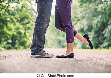 couple, amour, baiser