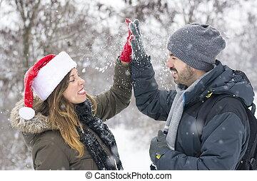 couple, amour, hiver, jour, dehors