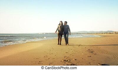 couple, amour, hiver, marche