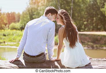 couple, amour, jeune, sensuelles, dehors