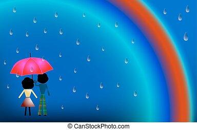 couple, amour, pluie, sous