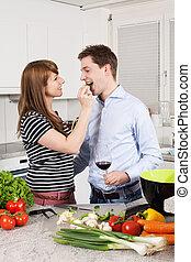 couple, amour, préparer, repas