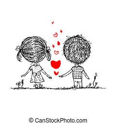 couple, amoureux, ensemble, valentin, croquis, pour, ton, conception