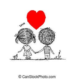couple, amoureux, ensemble, valentin, croquis, pour, ton,...
