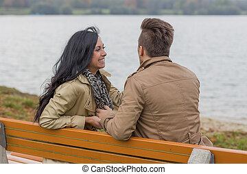 couple, amoureux, garez banc