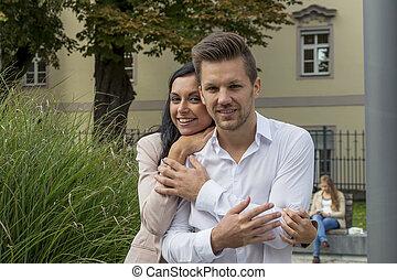 couple, amoureux, parc