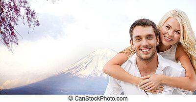 couple, amusant, sur, fuji, montagne, dans, japon