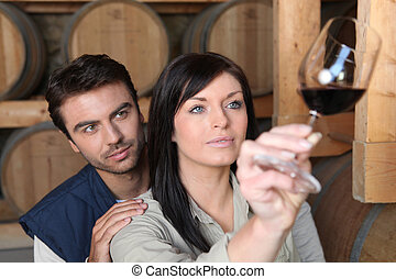 Couple analysing a wine