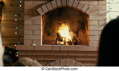 Couple and dog sitting by fireplace