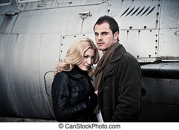 Couple and Fighter Jet