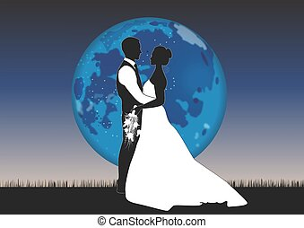 COUPLE AND MOON