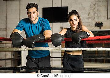 couple, anneau boxe, boxeurs
