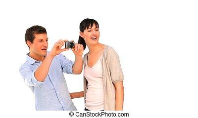 couple, appareil photo, aimer