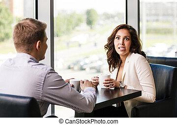 couple, apprécier, café