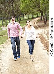 couple, apprécier, parc, promenade