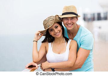 couple, apprécier, vacances, croisière