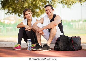 couple, après, exercisme, délassant, heureux