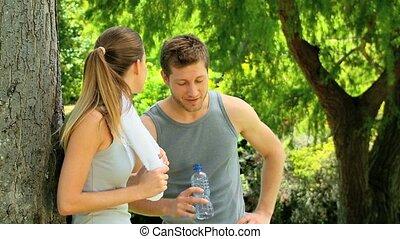 couple, après, sport, délassant