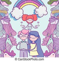 couple, arc-en-ciel, fantasme, cœurs, mignon, valentines, amour, jour, cupidon, unicorns, heureux