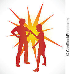 Couple Arguing - A couple in silhouette having a heated...