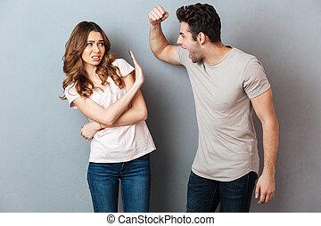couple, argument, fou, furieux, portrait, avoir
