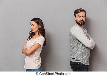 couple, argument, jeune, portrait, décue, avoir