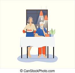couple, armchair., chat, regarder, vieille dame, séance