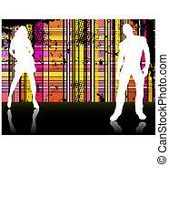 couple, arrière-plan., silhouettes, devant, sexy, rayé